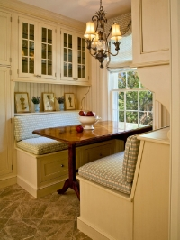 We love this stylish nook. This built-in banquette really packs in a ton of storage in a small space with its under-the -bench drawers and cabinetry above. (Ross Chapel for HGTV)