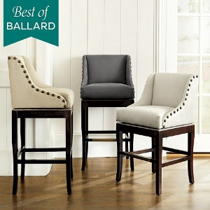 Swivel seats are a nice option, and the stylish Marcello from Ballard is very comfy with many fabric choices.