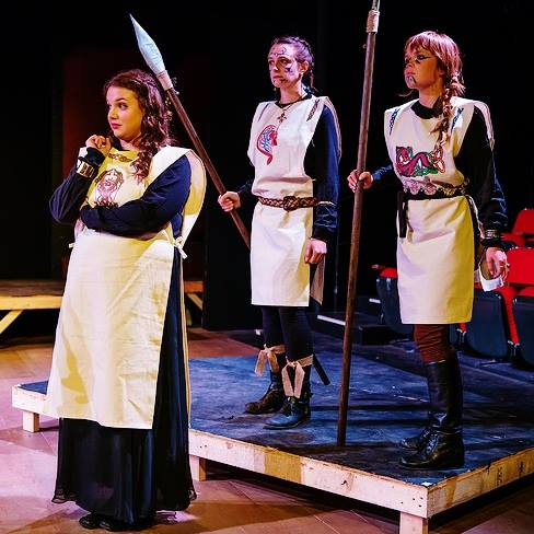 Regan (Katharine Jordan) & her Warrior Women (Abbie Zuker & Elizabeth Wagner)  Photo by: Martin DelVecchio