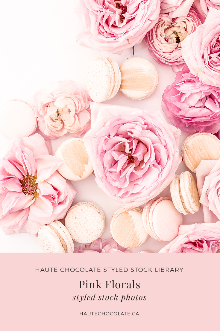 Beautiful pink flowers and gold macarons styled in a flatlay stock photo from the Haute Stock Library