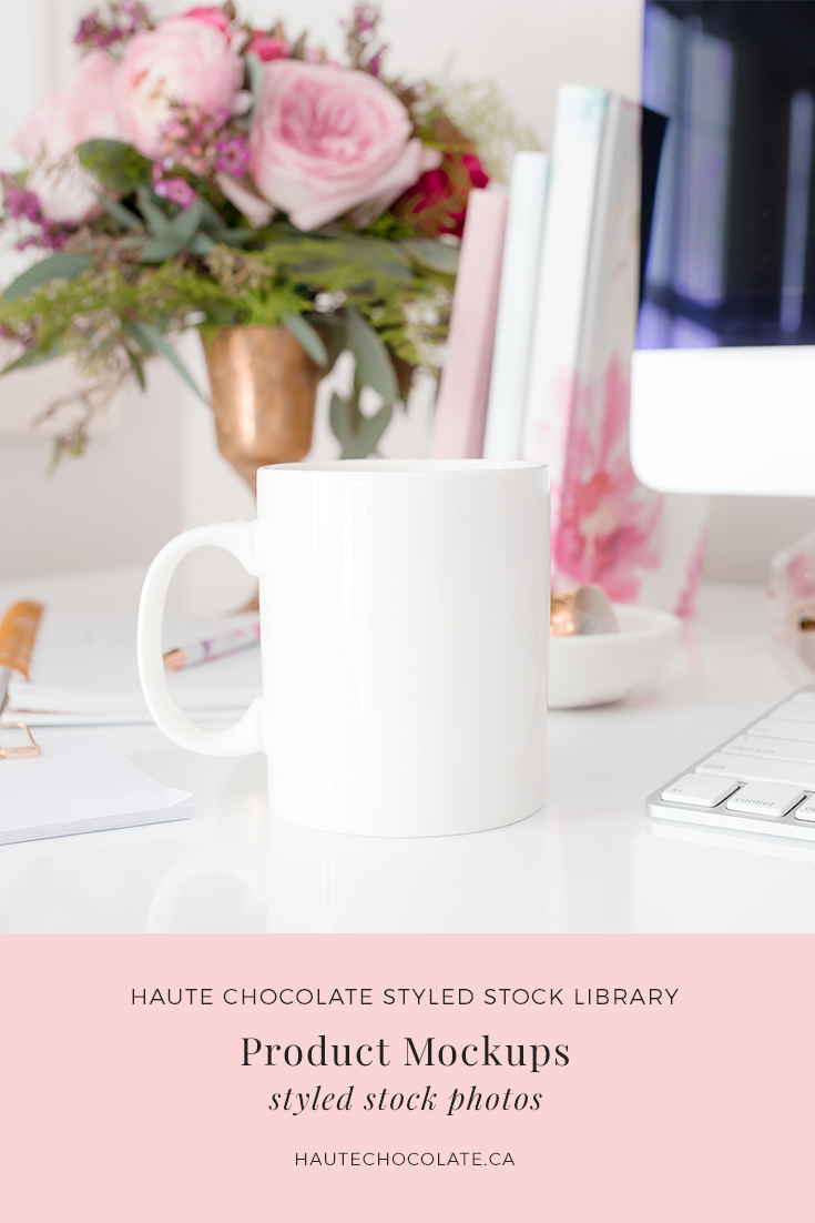 Feminine styled mockups featuring mug mockups, card mockups, invitation mockups, wedding suite mockups, and print mockups with frames from the Haute Stock Library