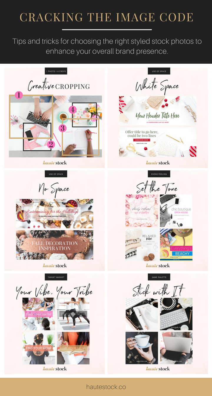 Haute Stock shows you how to choose the right styled stock photos for your brand and five simple ways to make stock photos work harder so you can spend less time looking for the perfect stock photo.