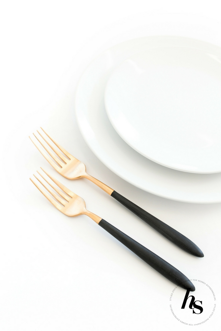 Modern, minimal Thanksgiving Tableware styled stock photo from Haute Stock featuring black, white and gold.