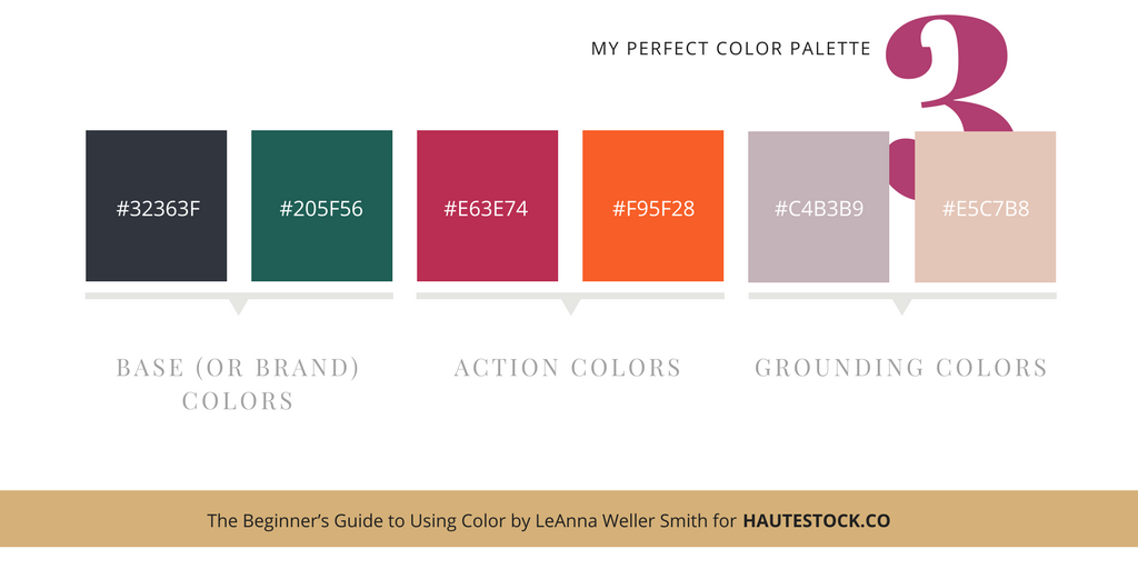 Narrow your perfect color palette down to 5-6 colors! Examples for how to use images to inspire your perfect brand color palette!  For more tips click here!