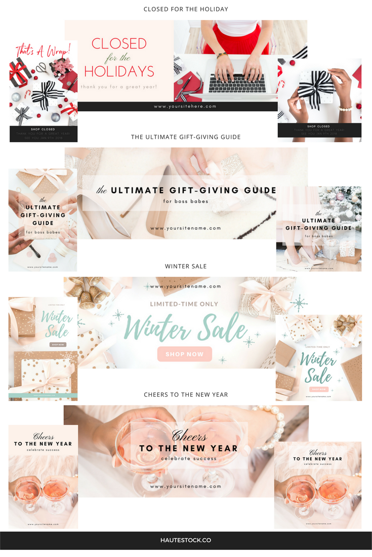 A preview of the professional holiday graphics that you'll learn to make in Haute Stock's Canva tutorial.