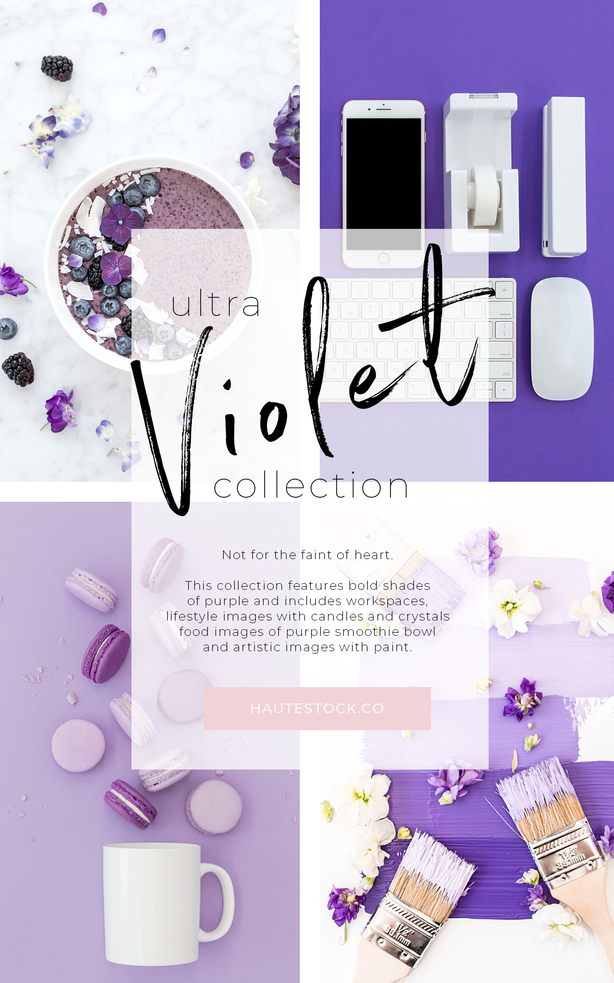 The Ultra Violet Collection - fun, artistic, bold flatlays ready for you to create gorgeous graphics with! Click for a full preview of Haute Stock's collection!