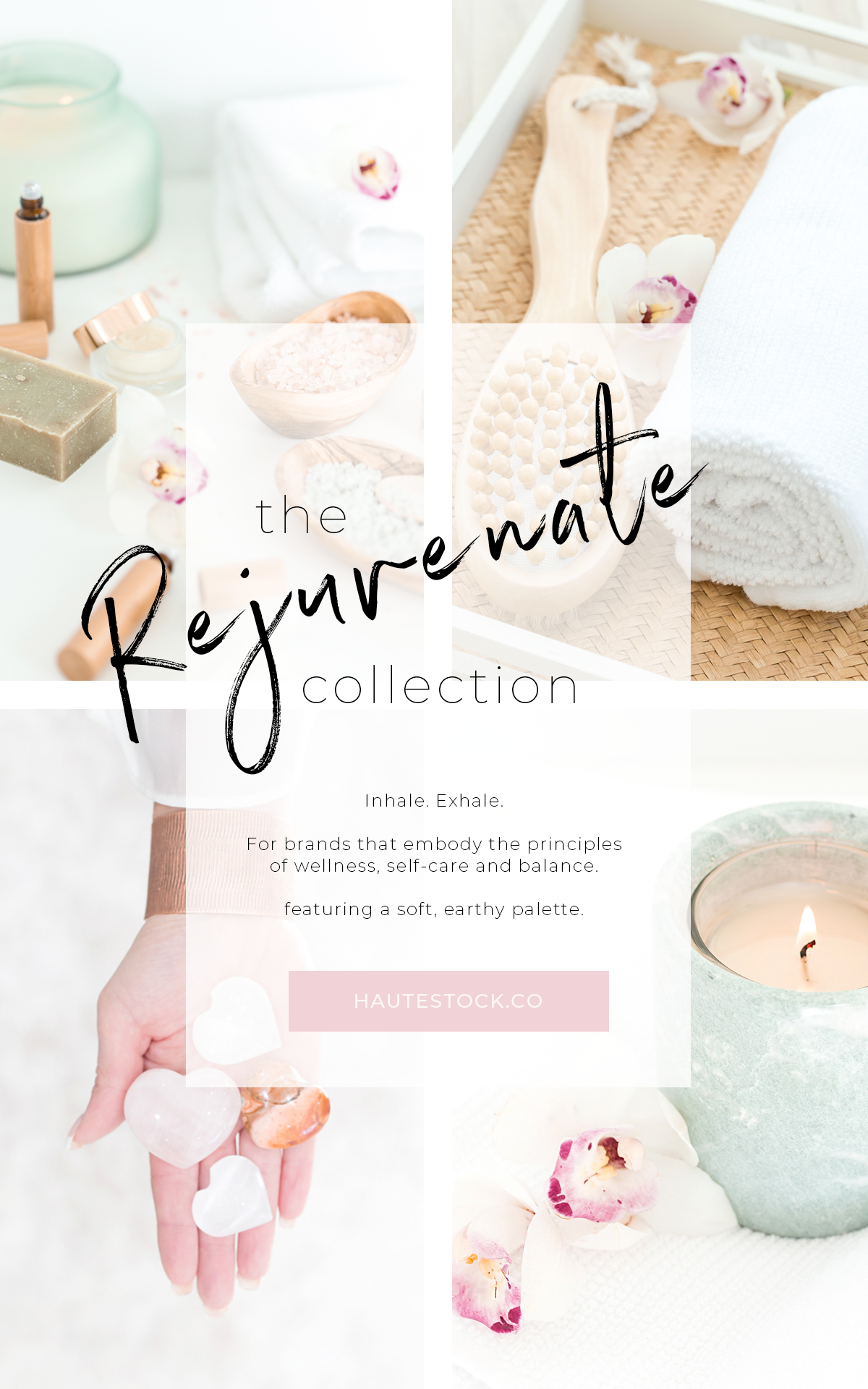 The Rejuvenate Collection is perfect for brands with a self-care focus and soft, calming vibes. Exclusively from Haute Stock. Click to preview the entire stock photo collection.