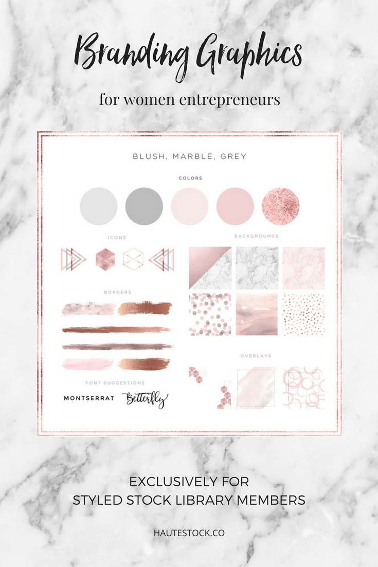 Blush, marble and grey graphic elements such as icons, backgrounds, borders, and overlays for women entrepreneurs.