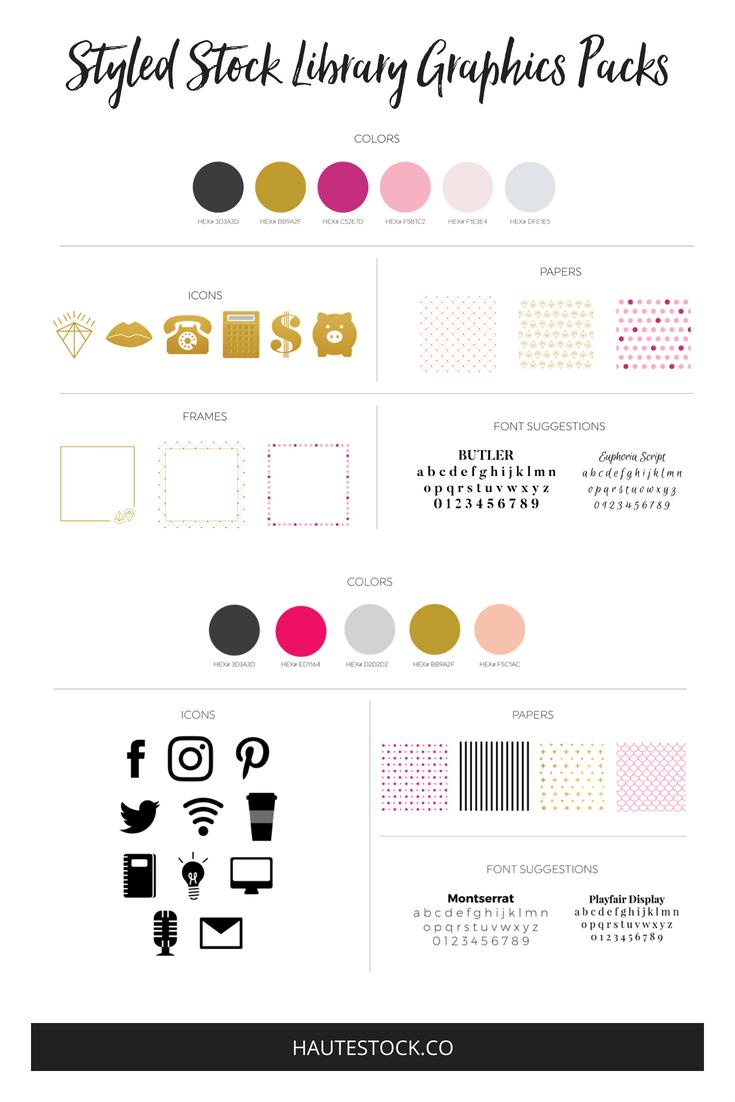 Female entrepreneur branding style guide from the Haute Stock Library