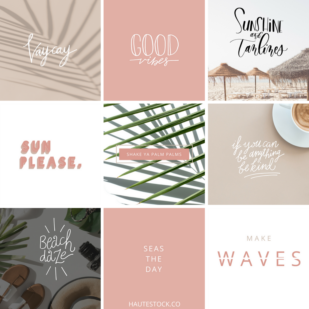 Summer inspired pre-made social media quote images from Haute Stock.