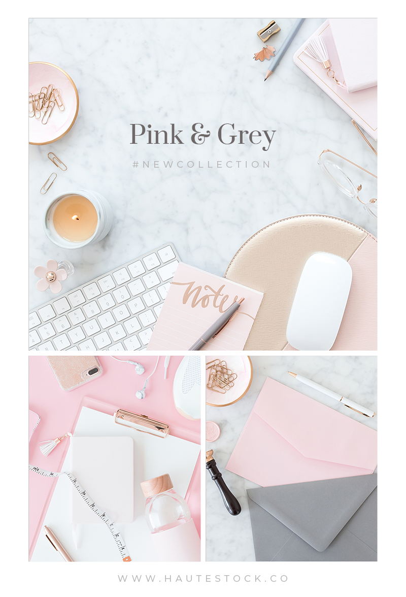 Haute Stock's Pink & Grey collection features a combination of pink and grey workspace, stationery, and fitness images that create a feminine styled stock collection perfect for your brand. Click to get a preview of this Haute Stock collection!
