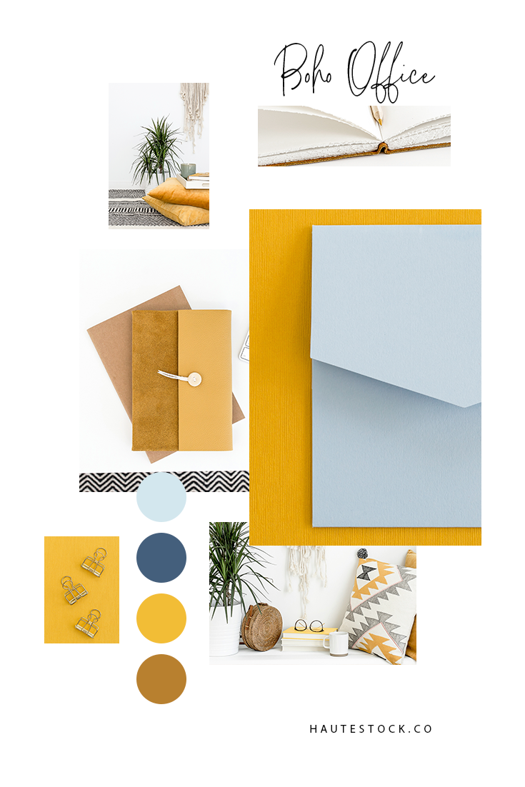 Fresh, modern boho chic workspace and lifestyle styled stock photos by Haute Stock. The Boho Office collection is both artistic and creative, with happy pops of blue, yellow, and green and lots of different textures at play to make it interesting and fun!