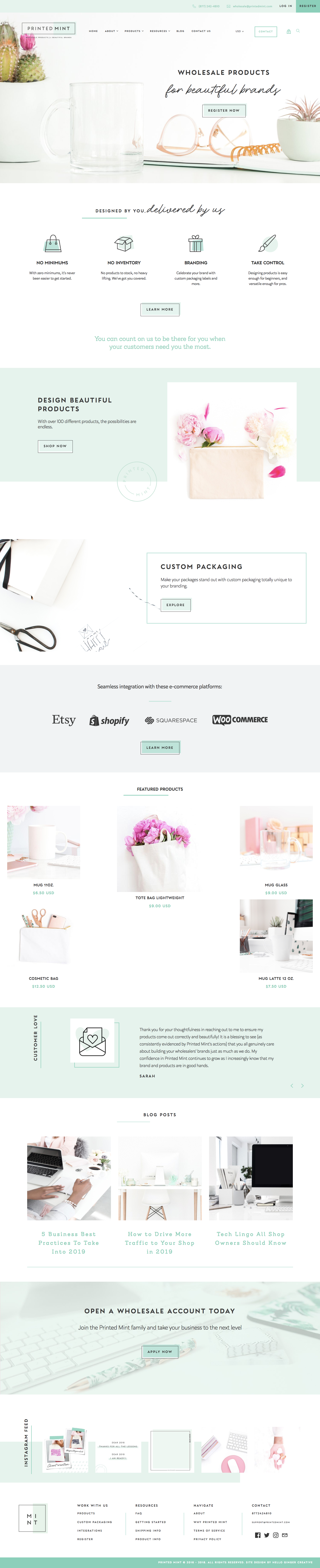 Printed Mint's Home Page - Choosing a variety stock photos that compliment your brand colors (main + secondary) and brand style will help you to create a memorable and cohesive visual presence.