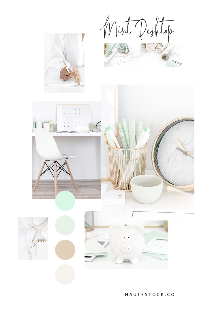 Mint styled desktop images featuring bright and airy lifestyle, finance & workspace images.
