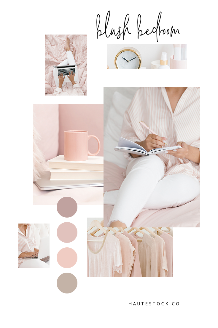The Blush Bedroom collection is the latest styled stock photo release from Haute Stock. It features images with and without a model, with a laptop, coffee, and journal. These dreamy images come in varying shades of soft pink.