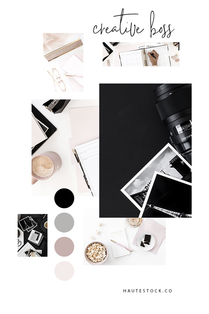 Pink and black creative & workspace flatlays from Haute Stock's Creative Boss Collection. Click to see the full collection!