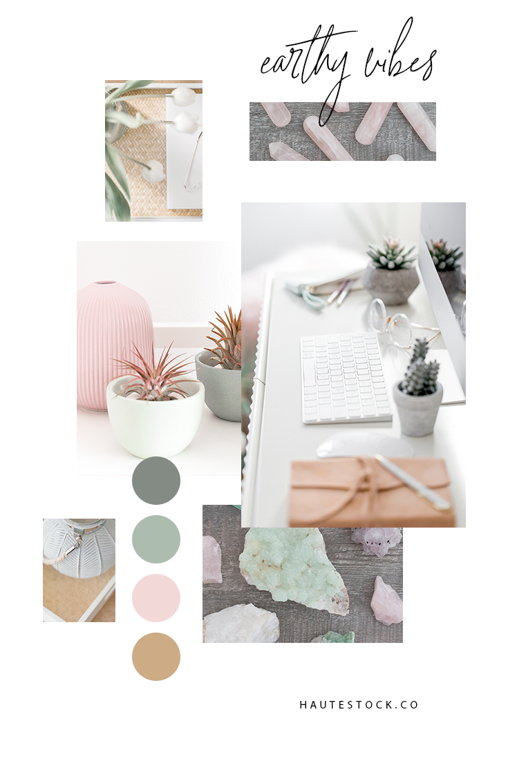 These earthy images from Haute Stock are the perfect palette of dusty pink, sage green and taupe. They feature organic elements in a serene workspace and crystals for healing. Click to view the entire collection.