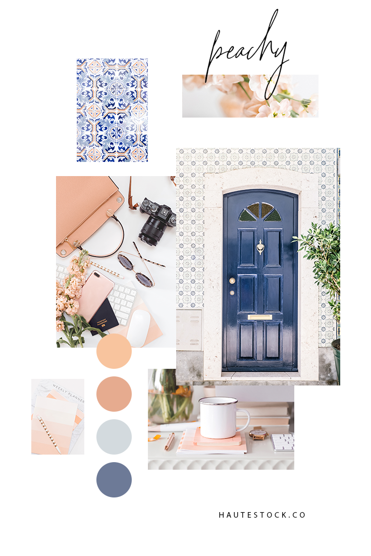 Peach and navy brand mood board from Haute Stock featuring lifestyle, travel and workspace images.
