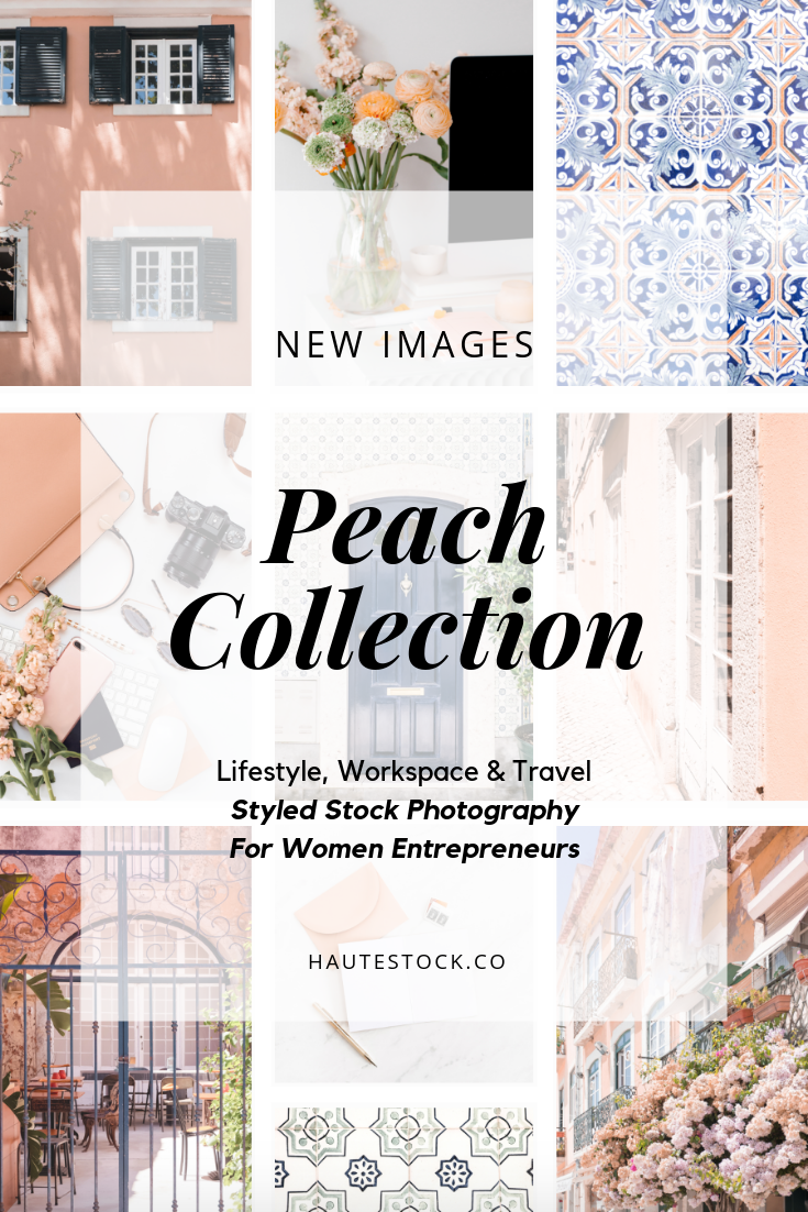 Peach and navy coloured stock photos for women entrepreneurs exclusively from Haute Stock.