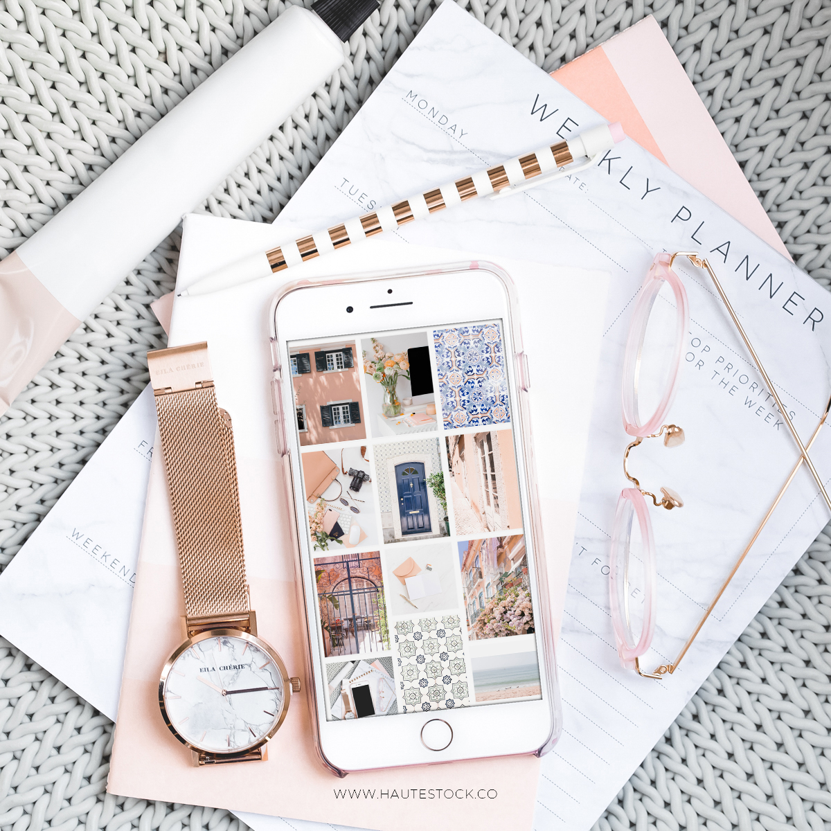 Travel, lifestyle and workspace stock photos exclusively from Haute Stock. Create gorgeous iPhone mockups  to display your work, website and social media accounts.