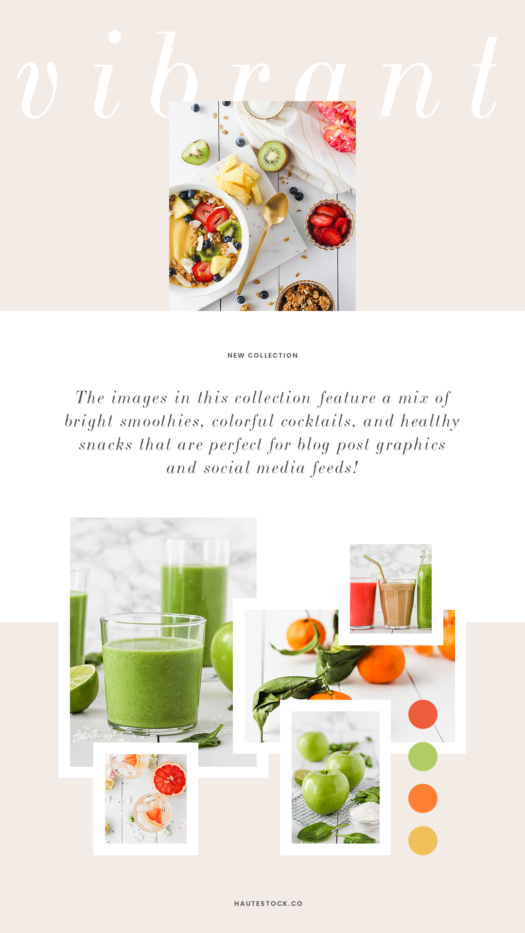 Vibrant, colorful, healthy food stock photos for health coaches, nutritionists, food bloggers and more! Available exclusively for Haute Stock members. These images feature a mix of bright, healthy smoothies, colorful cocktails, and healthy snacks that are perfect for blog post graphics and social media feeds. Click to view the entire collection.