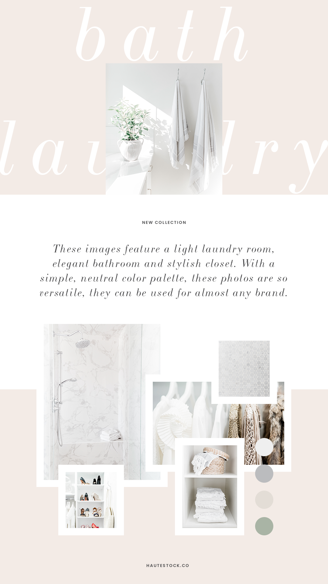 Beautiful, neutral home interior styled stock photos for women business owners, realtors, interior designers, and home organizer from Haute Stock. Click to preview the entire Laundry & Bath collection.