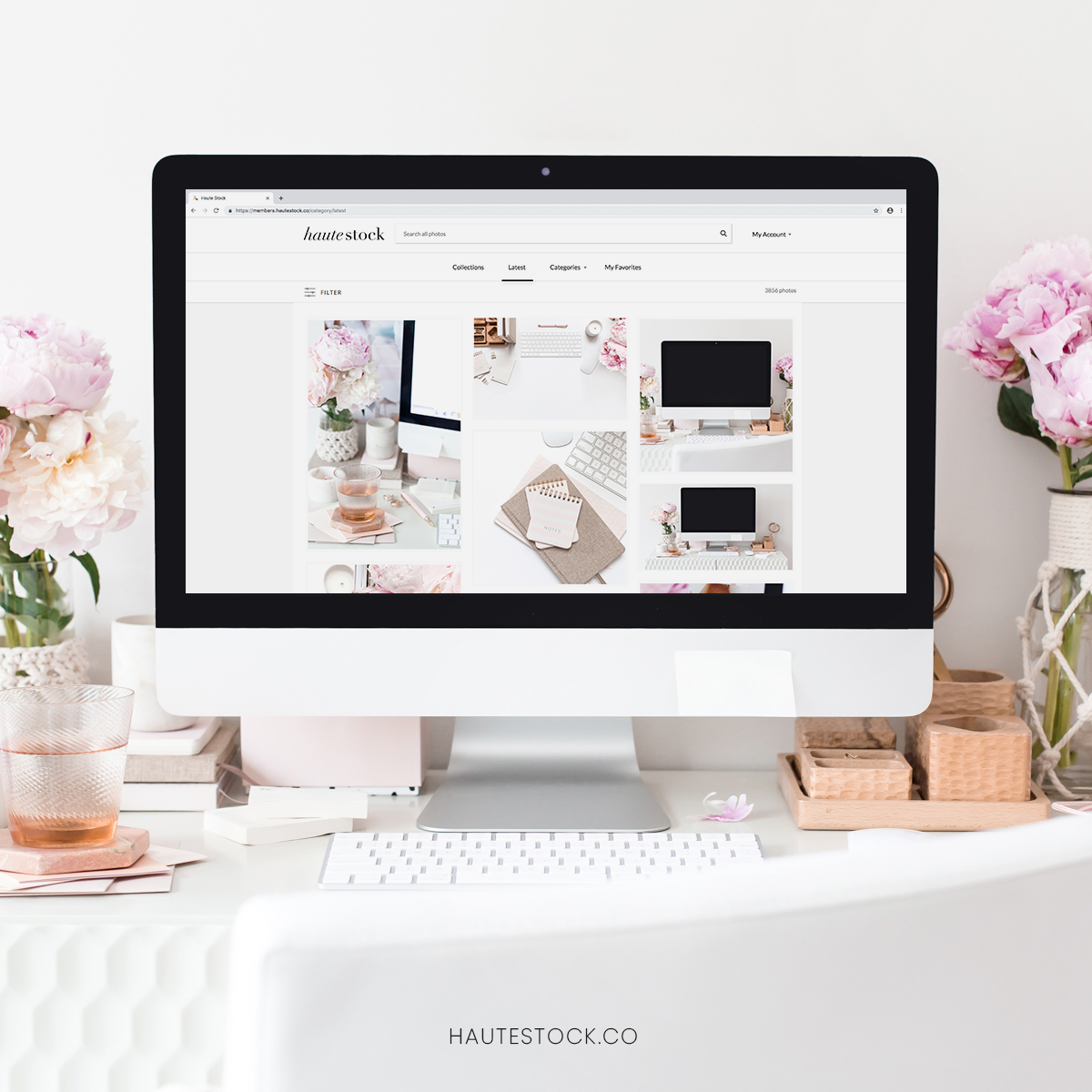 Show off your work with a Haute Stock desktop styled stock photography and a screenshot of your new work!