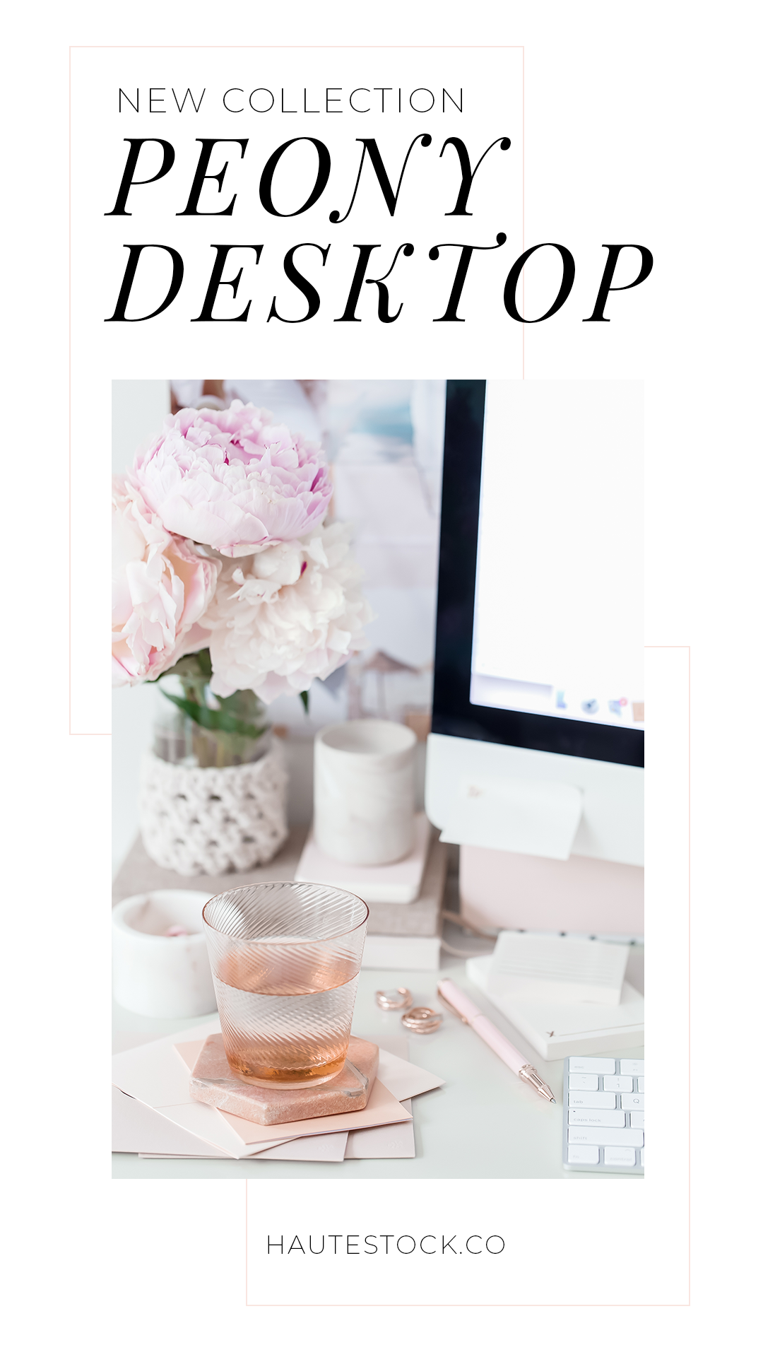 These gorgeous styled workspace images from Haute Stock feature pretty pink peonies, a beautiful office space, and lots of computer screen mockups for your social media images, website images, and blog post images. Click through to view the entire collection available exclusively for Haute Stock members!