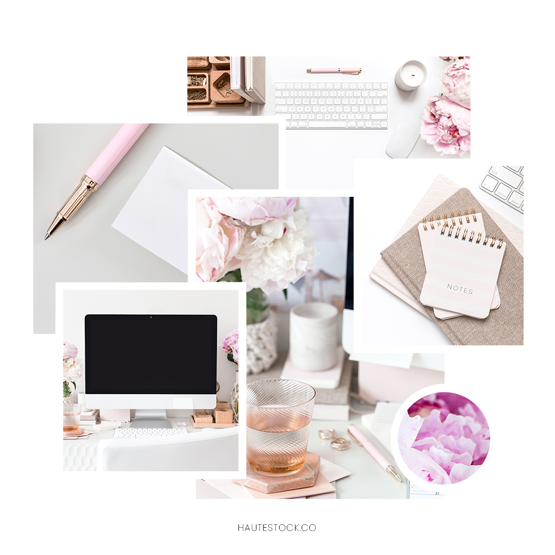 Pink office space styled stock photos from Haute Stock. The Peony Desktop Collection from Haute Stock features beautiful desktop and office space images for female entrepreneurs, bloggers, and creative business owners. Click through to view the entire collection available exclusively for Haute Stock members.