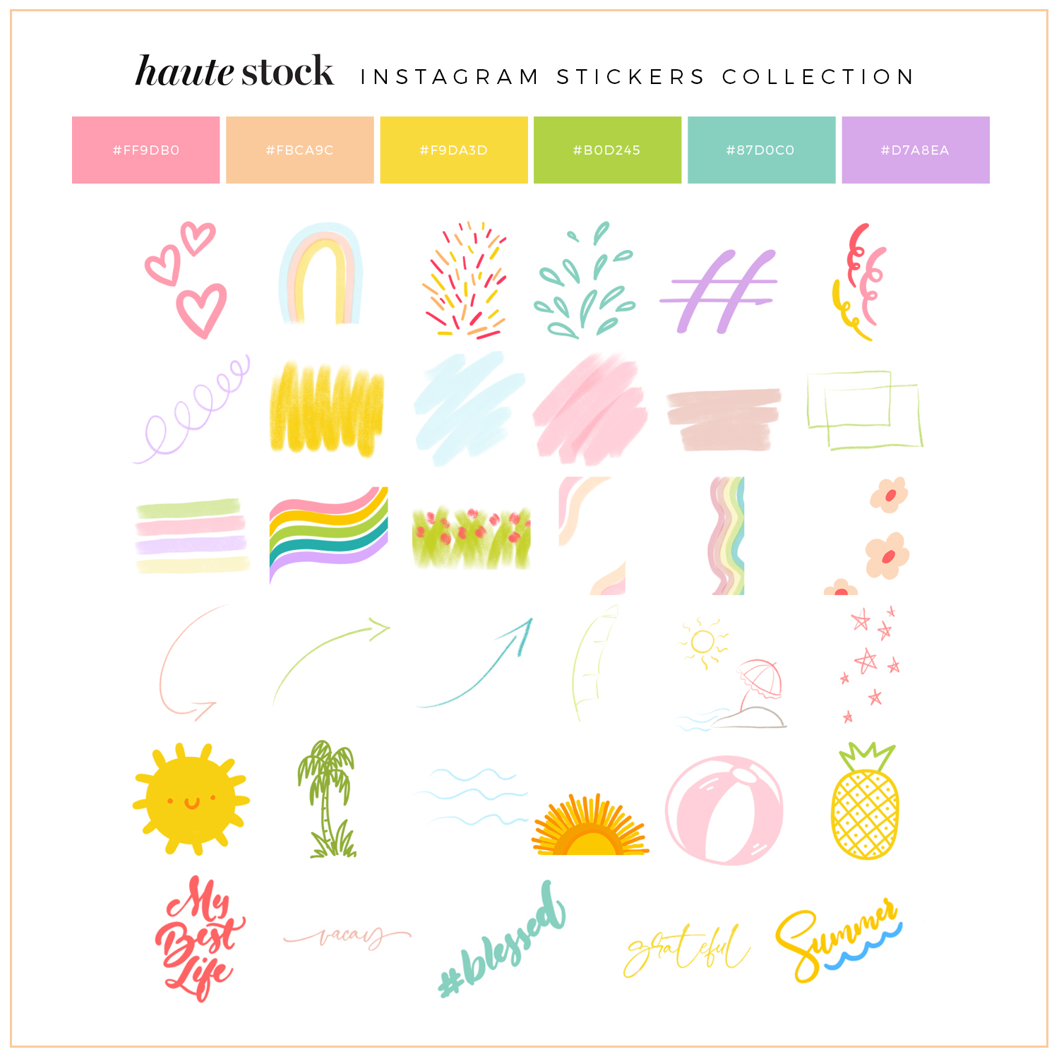 Summer Stickers for Instagram Stories from Haute Stock.