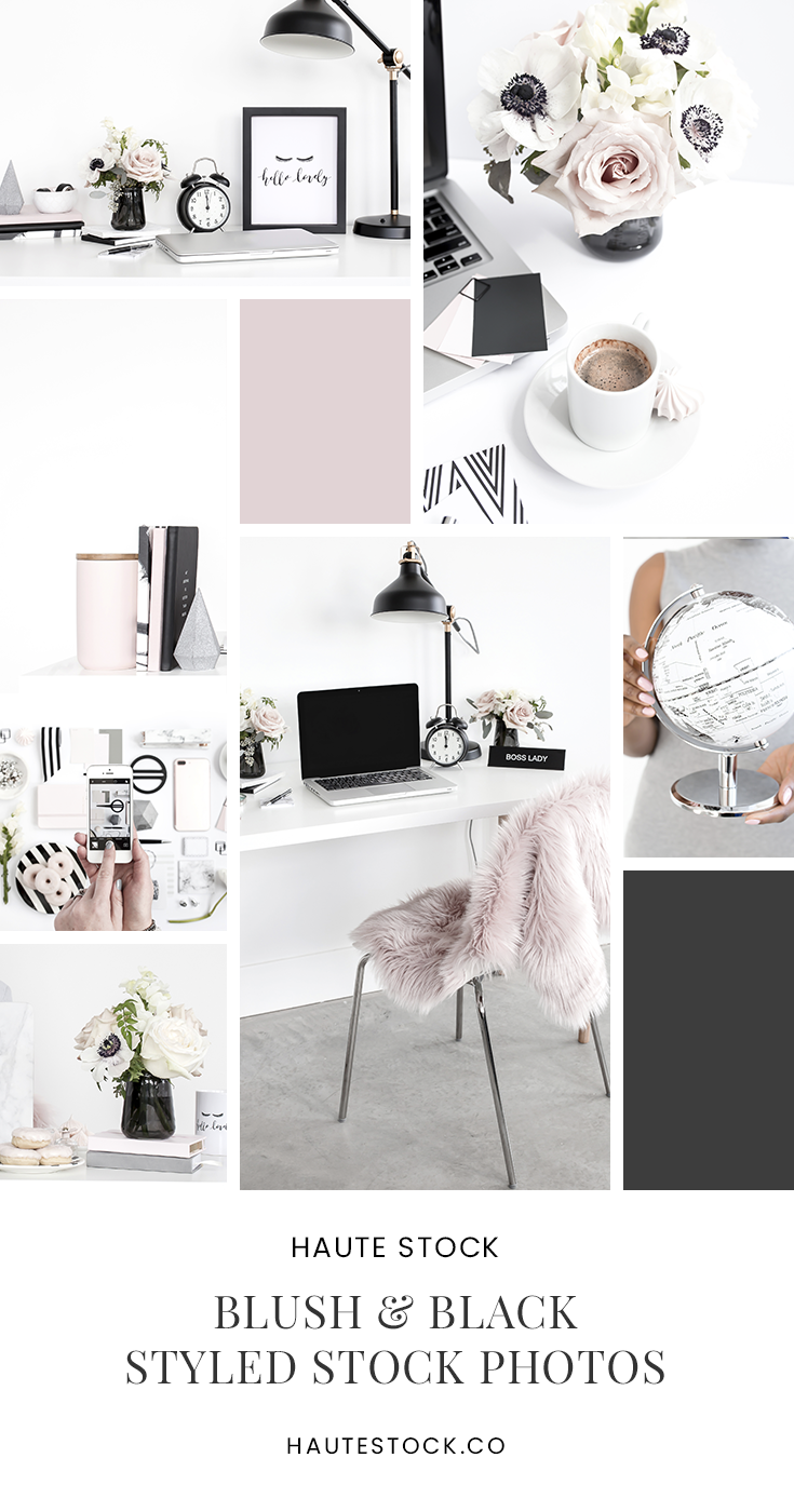 Muted blush and black styled stock photography featuring workspace and styled desktop photos.