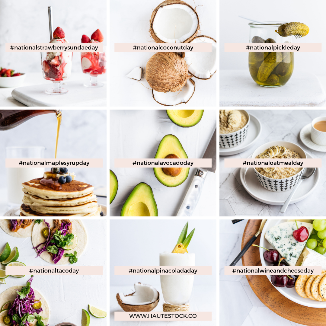 National food holidays are a fun way to post social media content your followers will engage with. Post about national pancake day, national Pina colada day and so much more with this micro-holidays collection from Haute Stock.