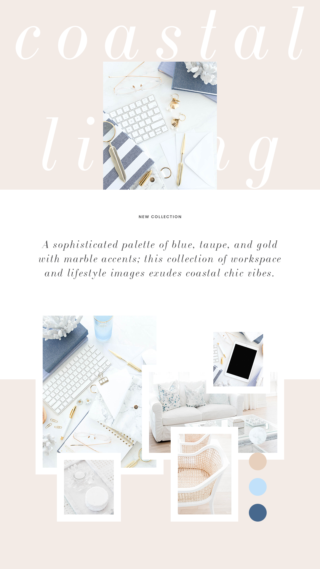 Haute Stock's Coastal Living features interior images and workspace flatlays for female entrepreneurs!