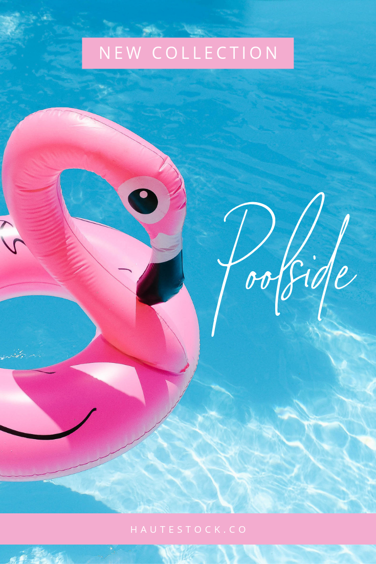 Summer stock photos with a vintage vibe featuring pink flamingo floaties in the pool. Available exclusively for Haute Stock members. Click to view the entire collection!