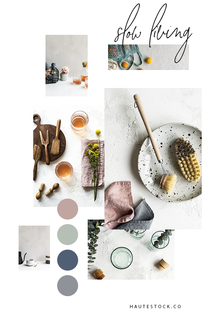 A food and lifestyle collection about intentional living with a neutral color palette, textured backgrounds, warm wood tones, ceramic elements, and organic fabrics, this collection is perfect for brands that embrace nature and simplicity.