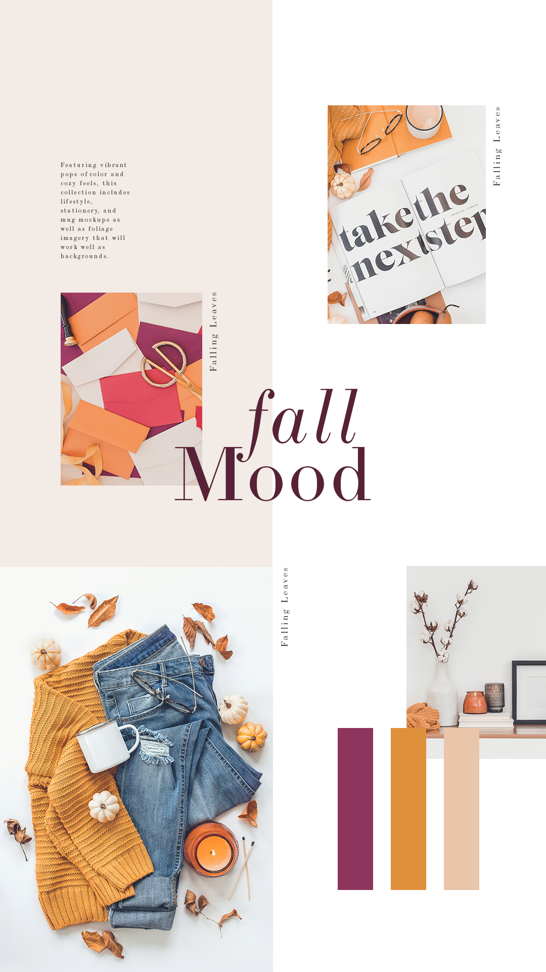 Warm and bold, these fall colors are perfect for brands that want to stand out on social media this season! With a mix of lifestyle and stationery images, the Falling Leaves Collection can be used for Instagram, Facebook, blog posts, or a seasonal website refresh!