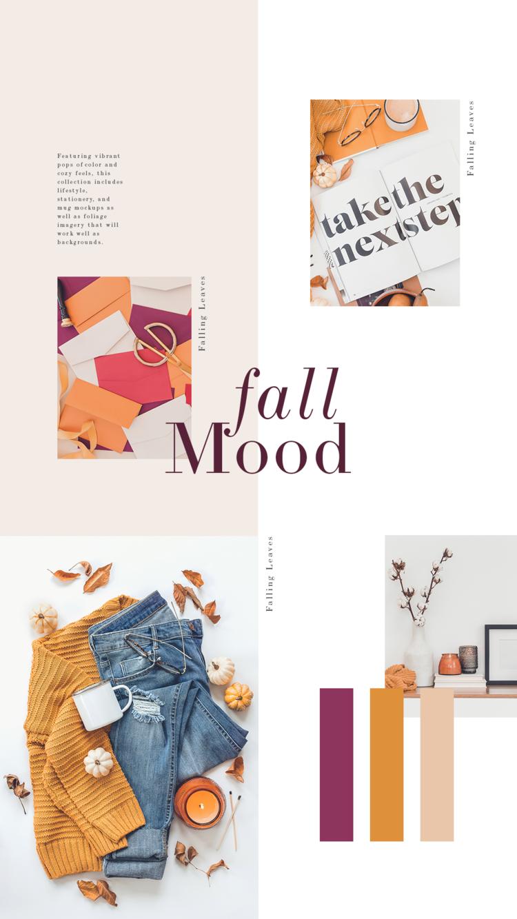 Quentes e ousadas, essas cores do outono são perfeitas para marcas que querem se destacar nas mídias sociais nesta temporada!  Com uma mistura de imagens de estilo de vida e artigos de papelaria, a Coleção Falling Leaves pode ser usada para Instagram, Facebook, postagens em blogs ou atualizações sazonais do site!
