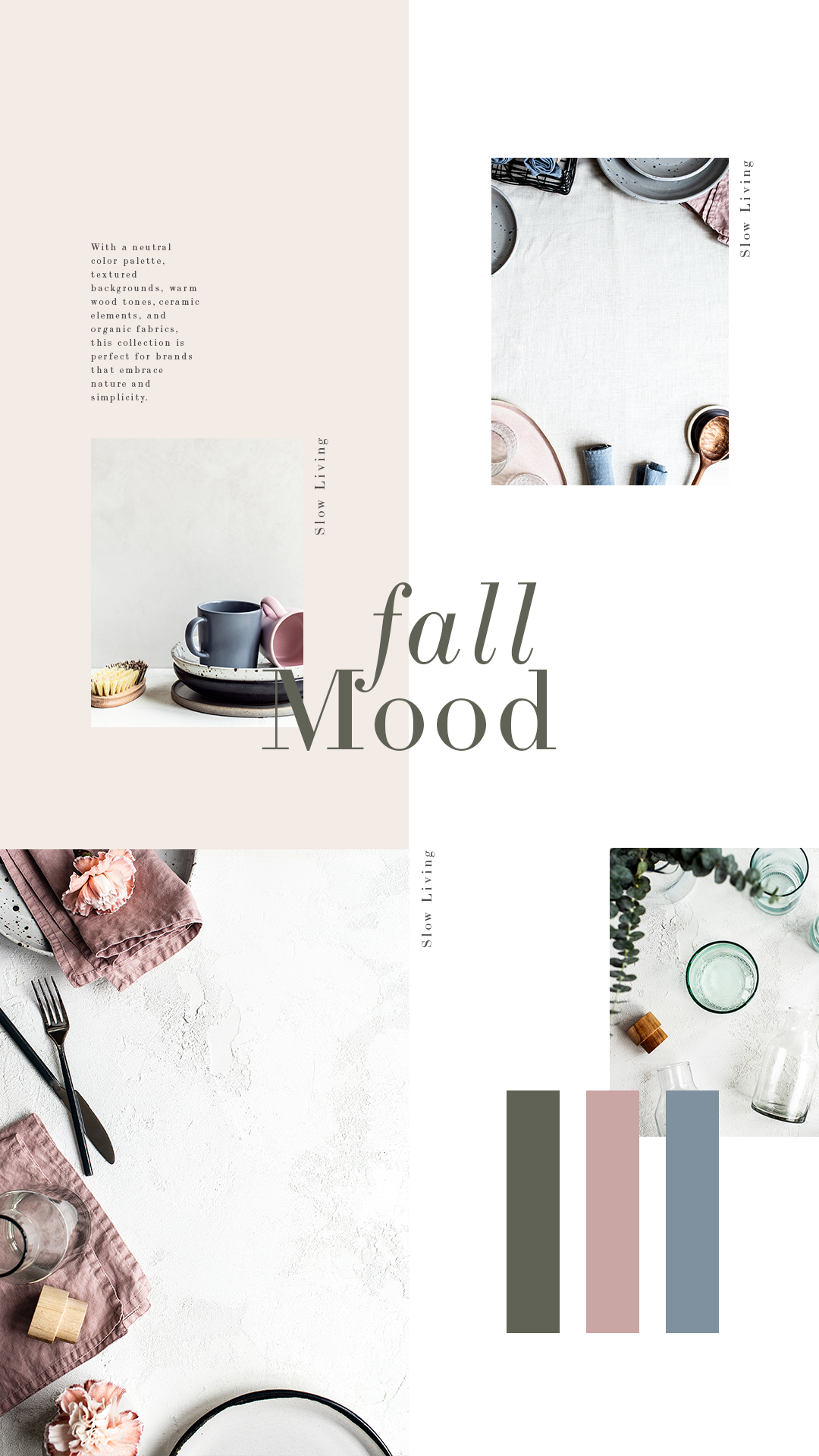 Feminine fall colors in a warm, neutral palette. This collection features minimal, organic, rustic farmhouse elements and embraces slow, intention living.