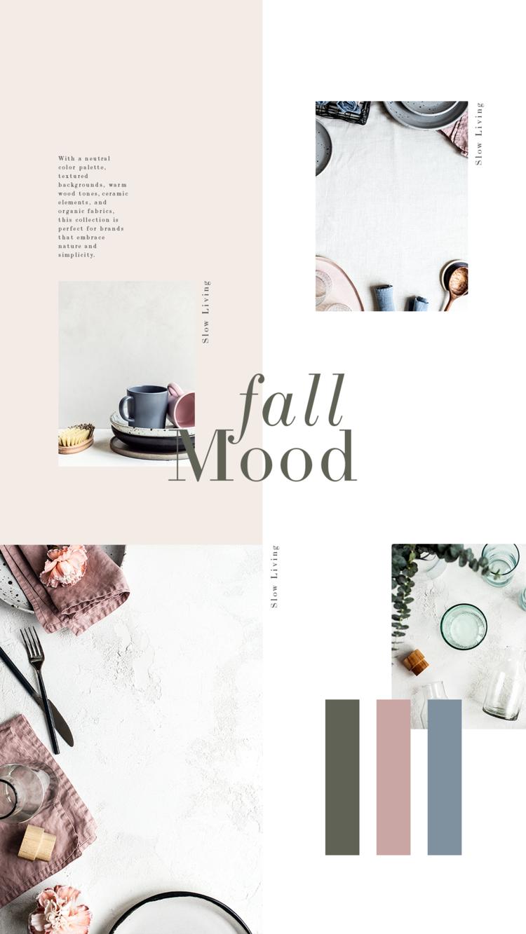 Cores de outono femininas em uma paleta quente e neutra.  Esta coleção apresenta elementos mínimos, orgânicos e rústicos e adota uma vida lenta e intencional.