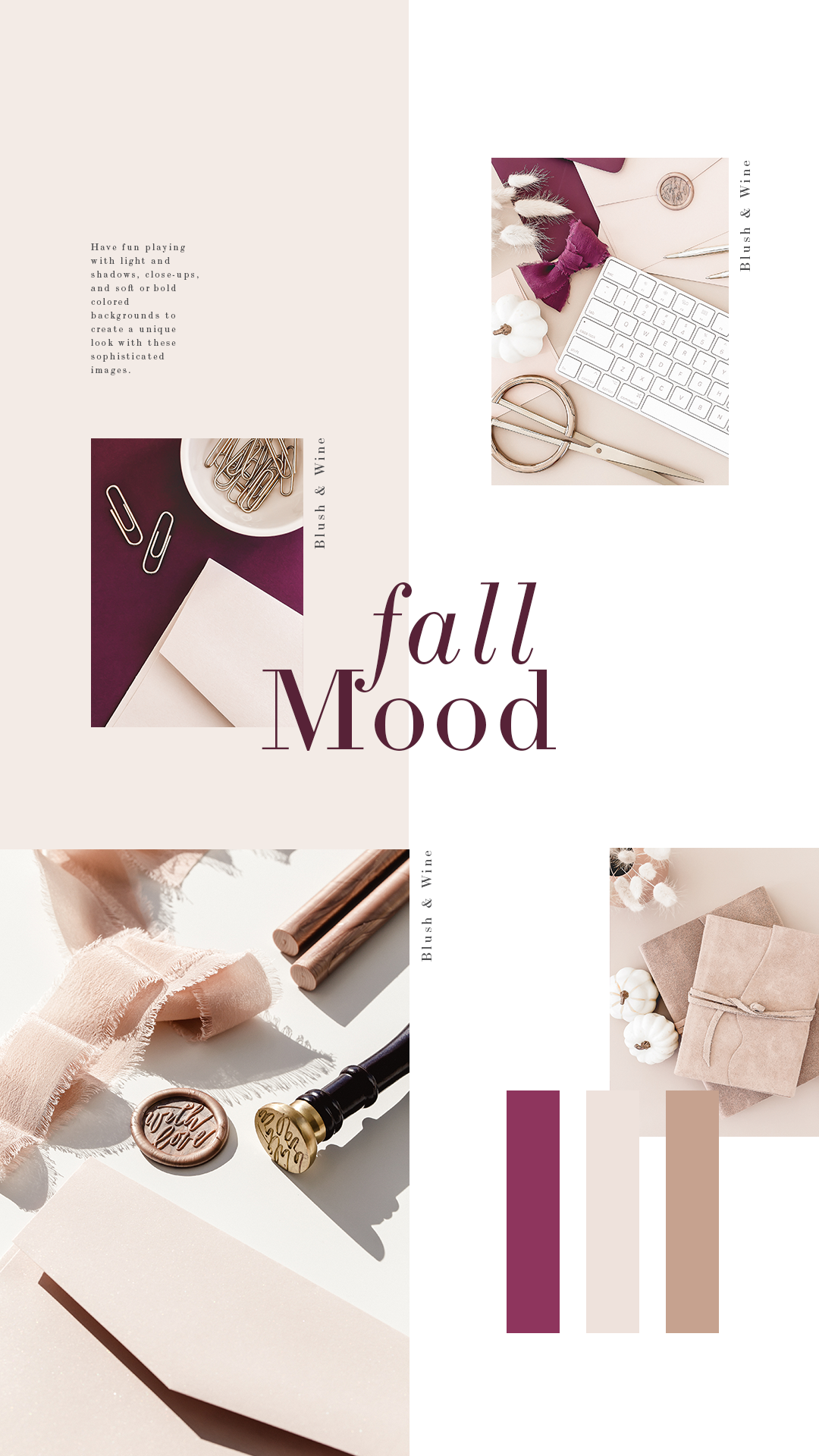 Blush and wine make the perfect pairing for a soft, feminine, fall color palette. This collection features stationery images for creative entrepreneurs, women business owners and bloggers.