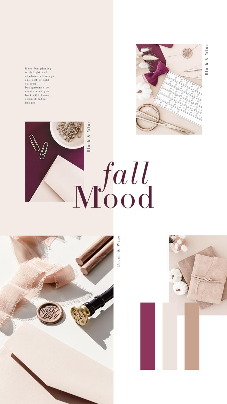 Blush e vinho fazem o emparelhamento perfeito para uma paleta de cores de outono suave e feminina.  Esta coleção apresenta imagens de papel de carta para empreendedores criativos, mulheres empresárias e blogueiras.