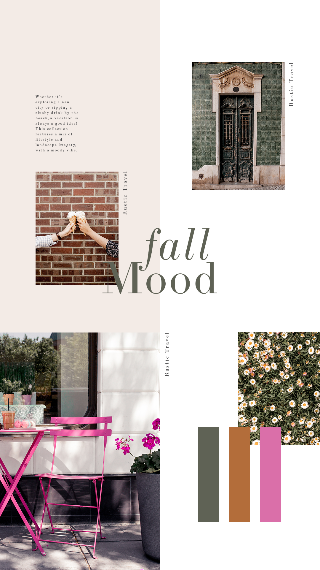 Olive green, burnt orange, and hot pink make a unique combination for a new spin on a fall color palette.