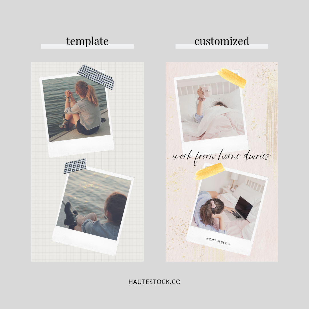 By now, you're seeing the trend — we're making small tweaks that make a big impact! To keep this image on-brand, we changed out the background image to a paper design found in the  Navy, Pink, Sage, & Gold Brush Stokes Graphics Pack , and we also used a gold foil brush overlay and Haute Stock images.