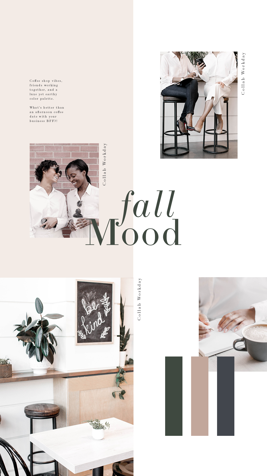 Taupe, forrest green and dark blue combine to create a sophisticated palette of stock images for business coaches, bloggers and creative women entrepreneurs. Click for more branding inspiration!