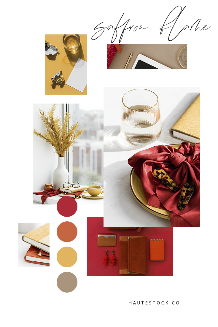 Looking for bright and bold fall colored stock photography featuring workspace and lifestyle images for your business? Click to see a preview of the entire Saffron Flame collection by Haute Stock made for female entrepreneurs!