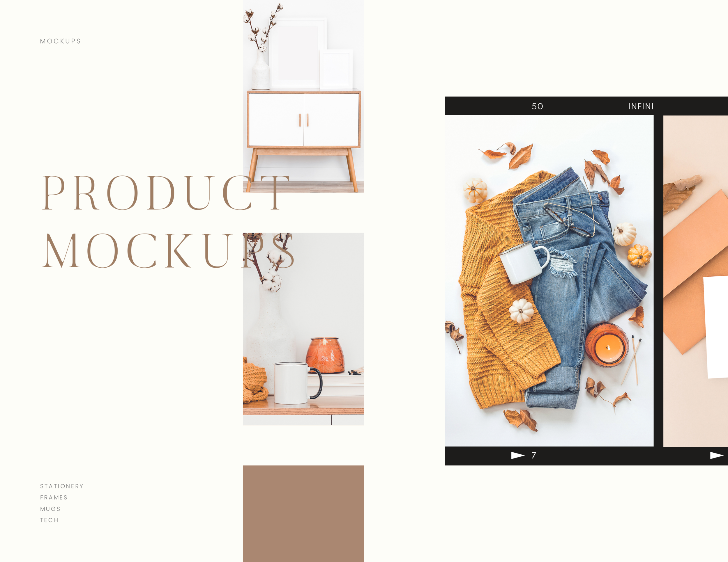 Seasonal Fall product mockup images. Fall mug mockups. Fall stationery mockups. Fall frame mockups.