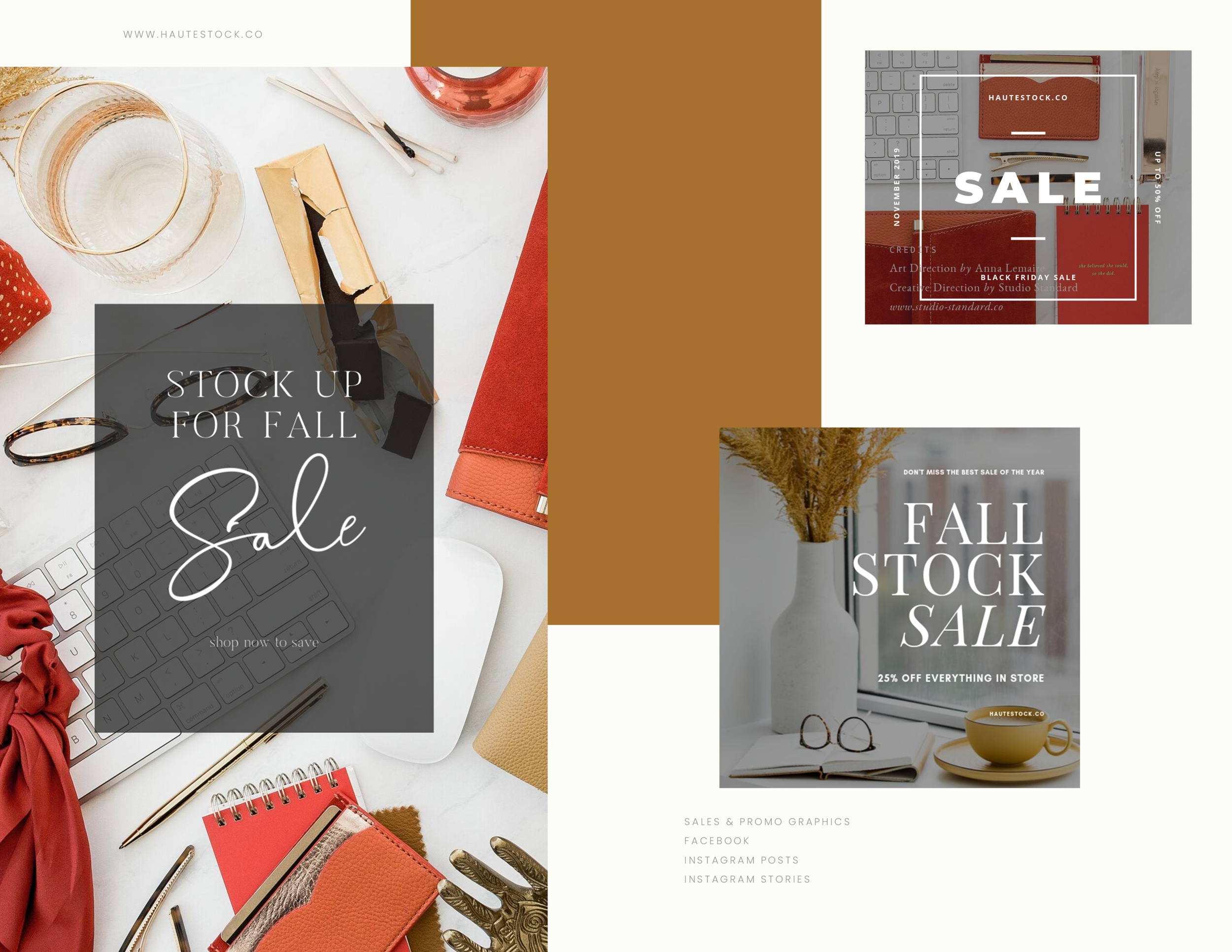 Create stunning sales graphics and pretty promotional images using Haute Stock photos and our fall and autumn collections.