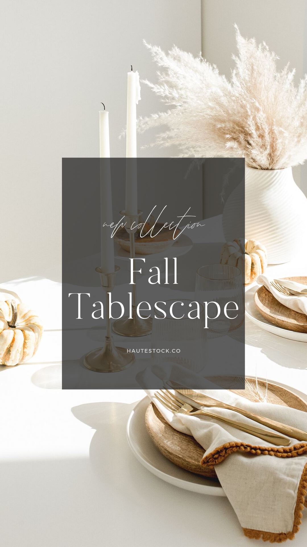 Warm neutral Fall tablescape decor stock photos that are perfect for Thanksgiving and Fall decorating posts. Exclusively from Haute Stock. Click to view the collection.