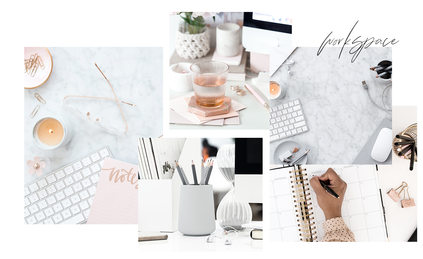 Workspace Stock Photos - Your membership includes access to hundreds of flatlay images perfect for boss ladies. They feature tech and pretty props in a variety of layouts and color palettes, with lots of negative space for text.