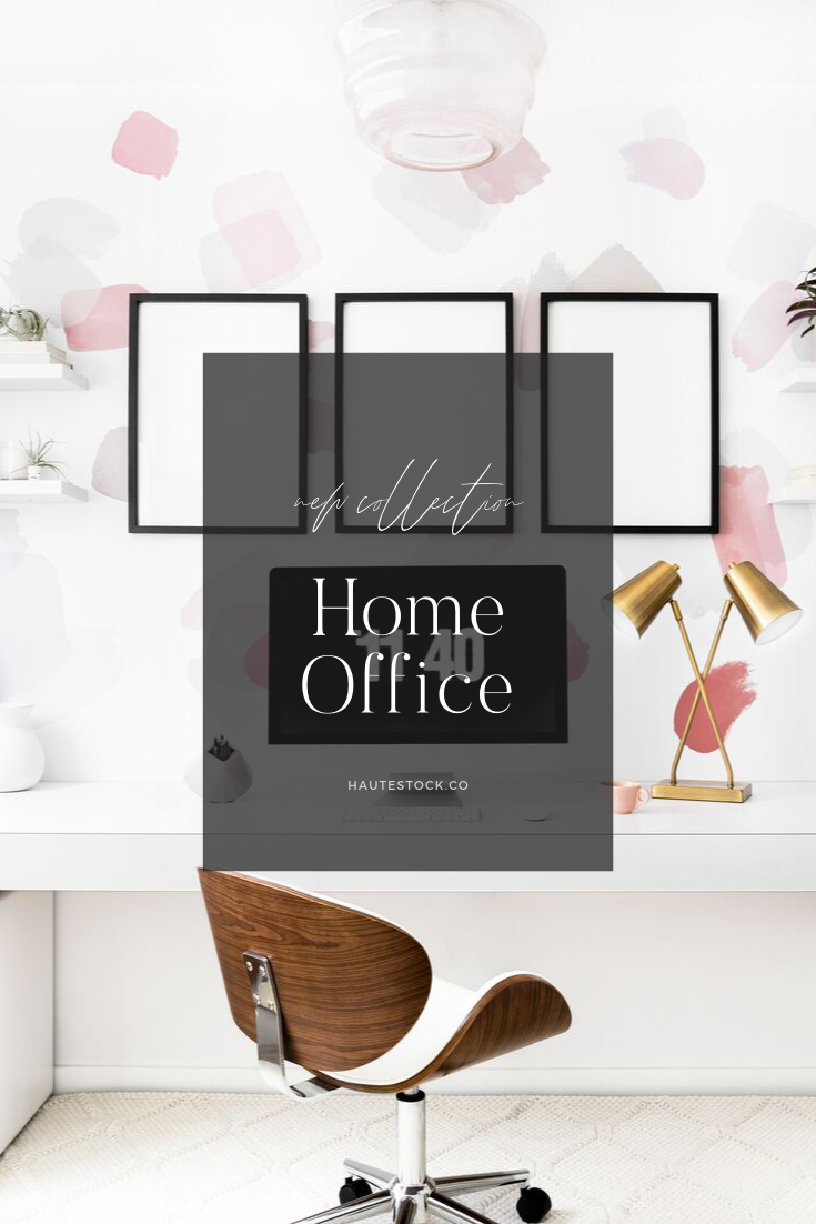 Home office workspace images featuring women entrepreneur working, drinking coffee, planning and frame & paper mockups from Haute Stock!
